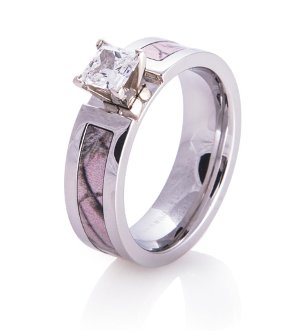 Women S Cobalt Chrome Realtree Ap Pink Camo Engagement Ring