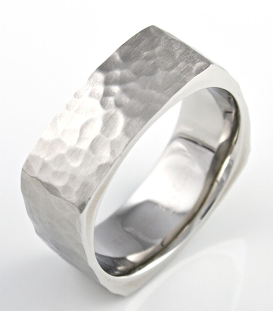Super Square Cobalt Hammered Ring - Unique Titanium Rings & More  NP02