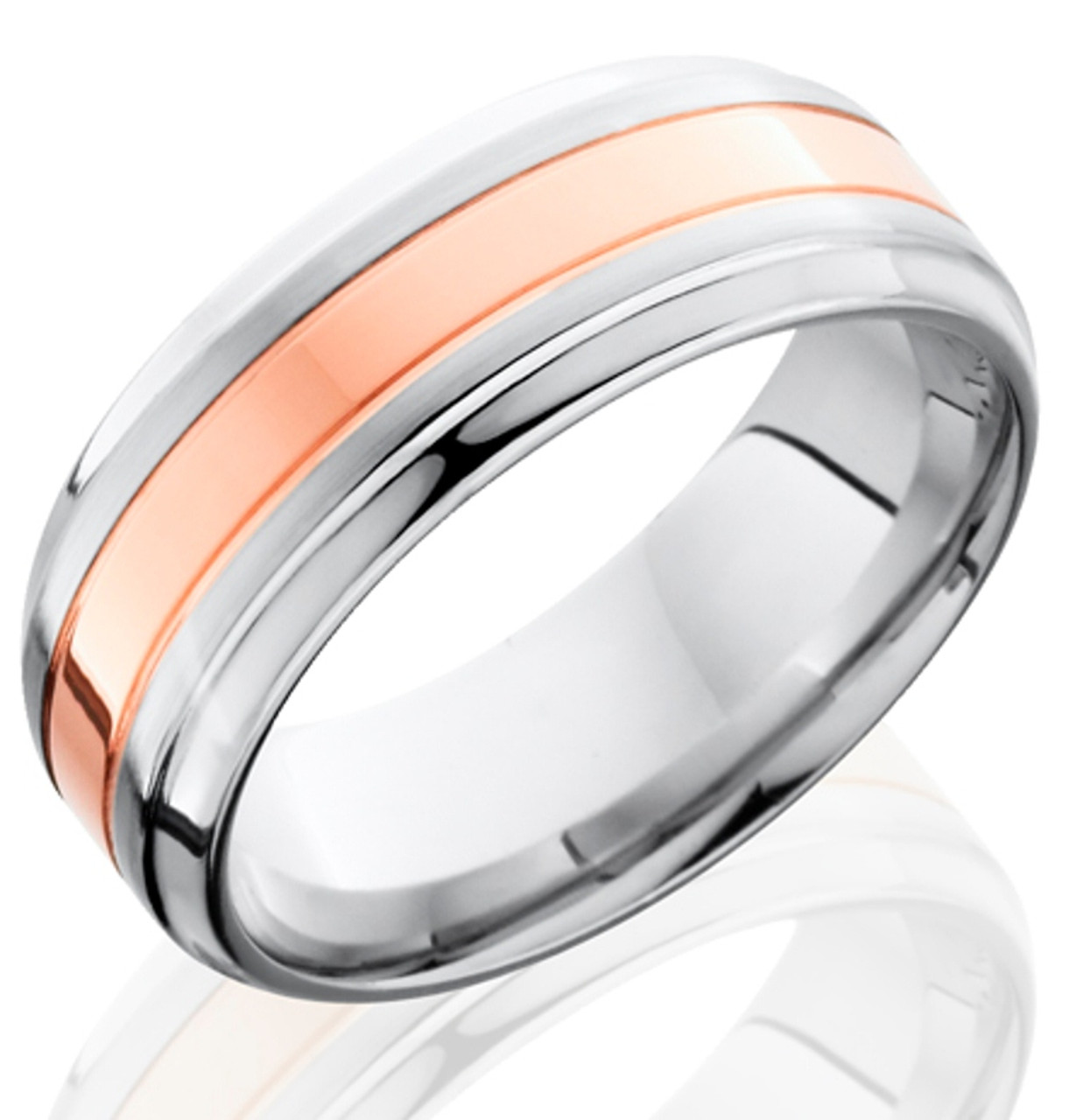 Mens Grooved Edge Cobalt Wedding Ring With Rose Gold Inlay