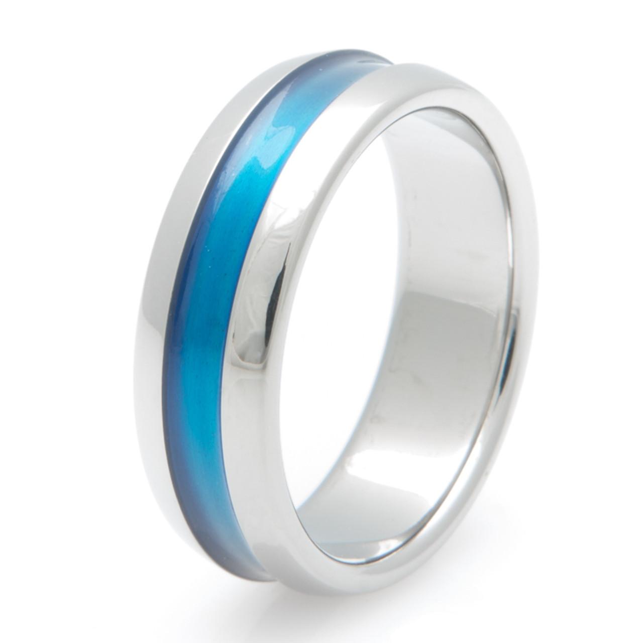 Titanium Wide Blue Wedding Band From Titanium Buzz Com