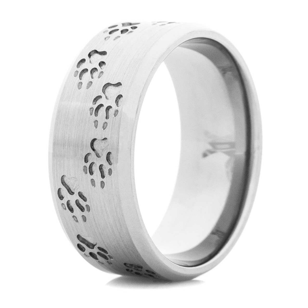 Wolf Tracks Ring Unique Titanium Rings More TitaniumBuzz