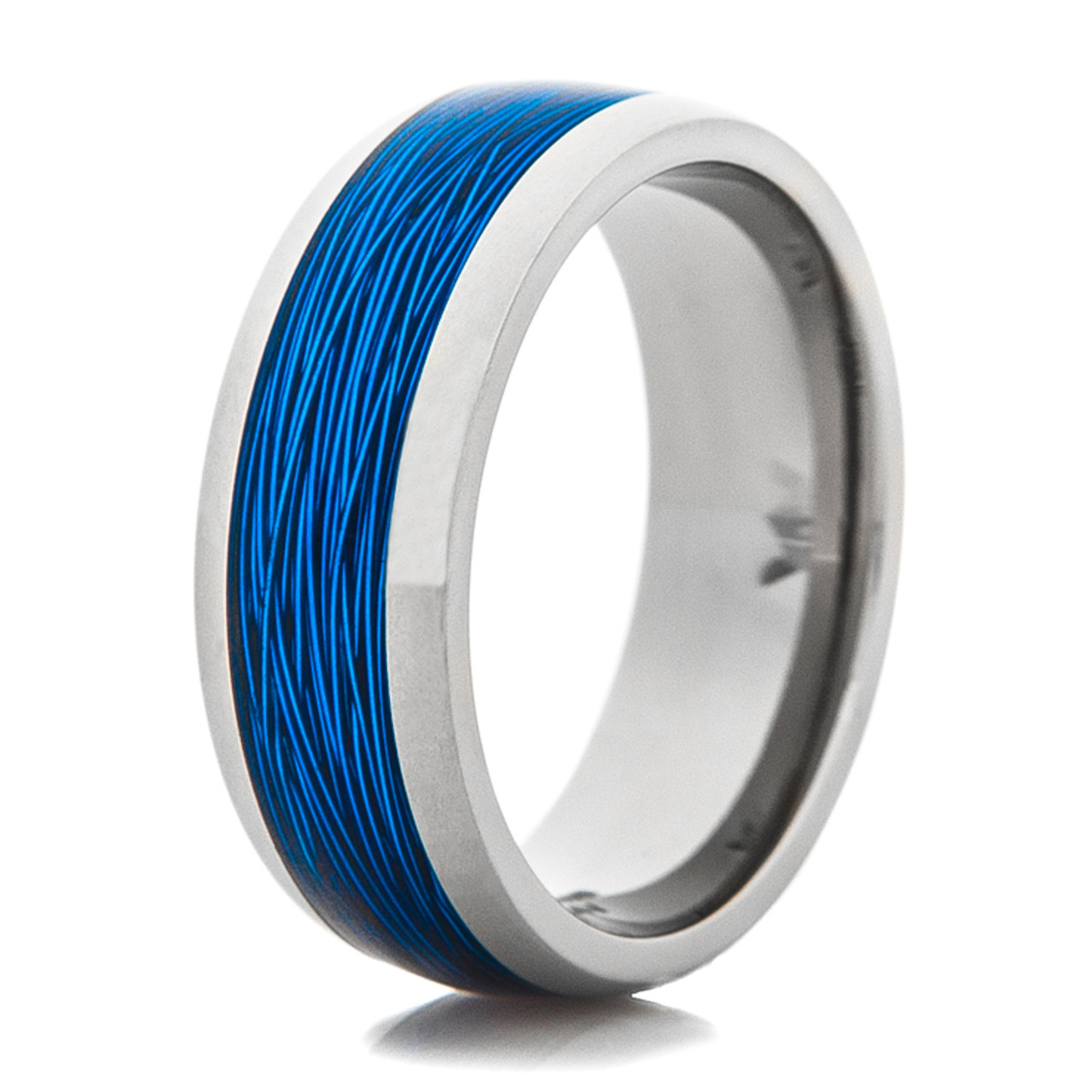 Titanium Ring With Blue Fishing Line Inlay