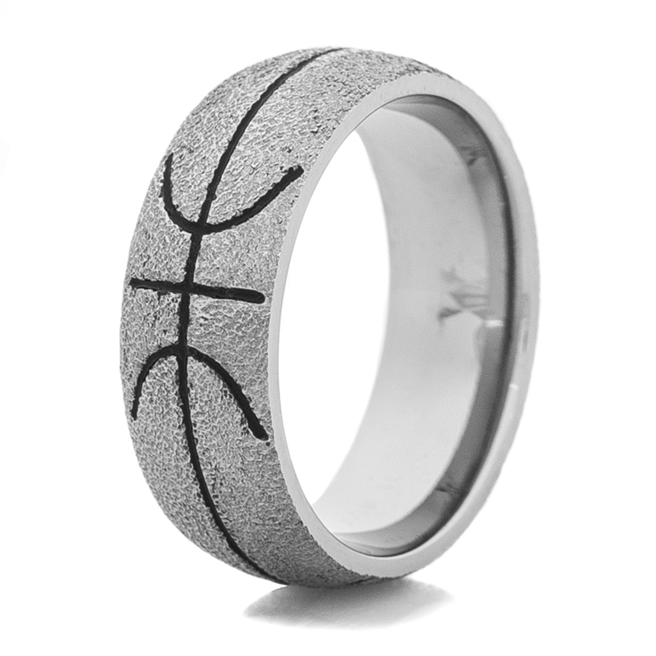 Titanium Basketball ring with Black Inlay TitaniumBuzz