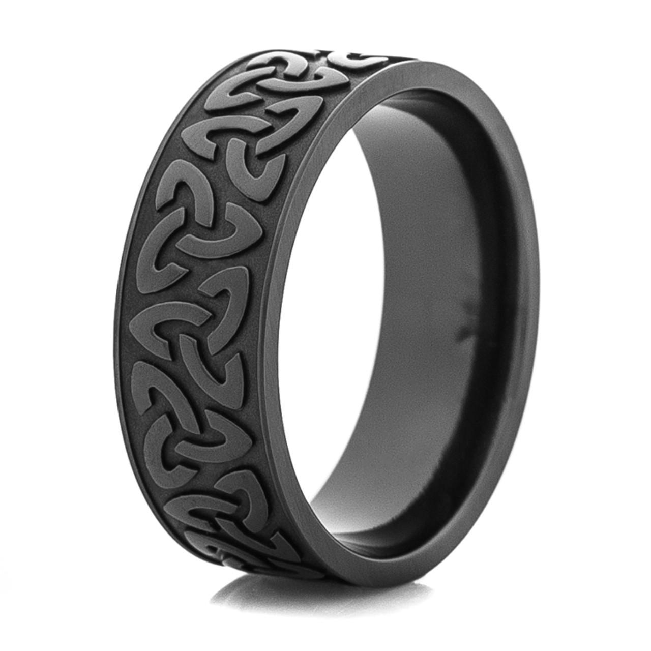 Mens Black Trinity Symbol Wedding Ring Titanium Buzz