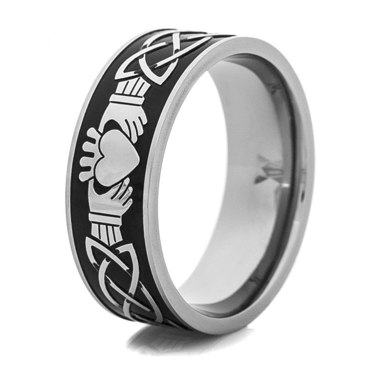 Beau Menu0027s Titanium Black And Silver Claddagh Wedding Ring