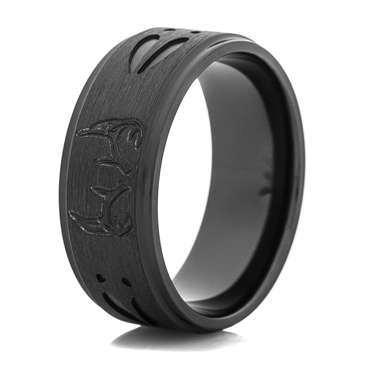 band custom black rings ceramic johan wedding jewelry ring deer antler by collections