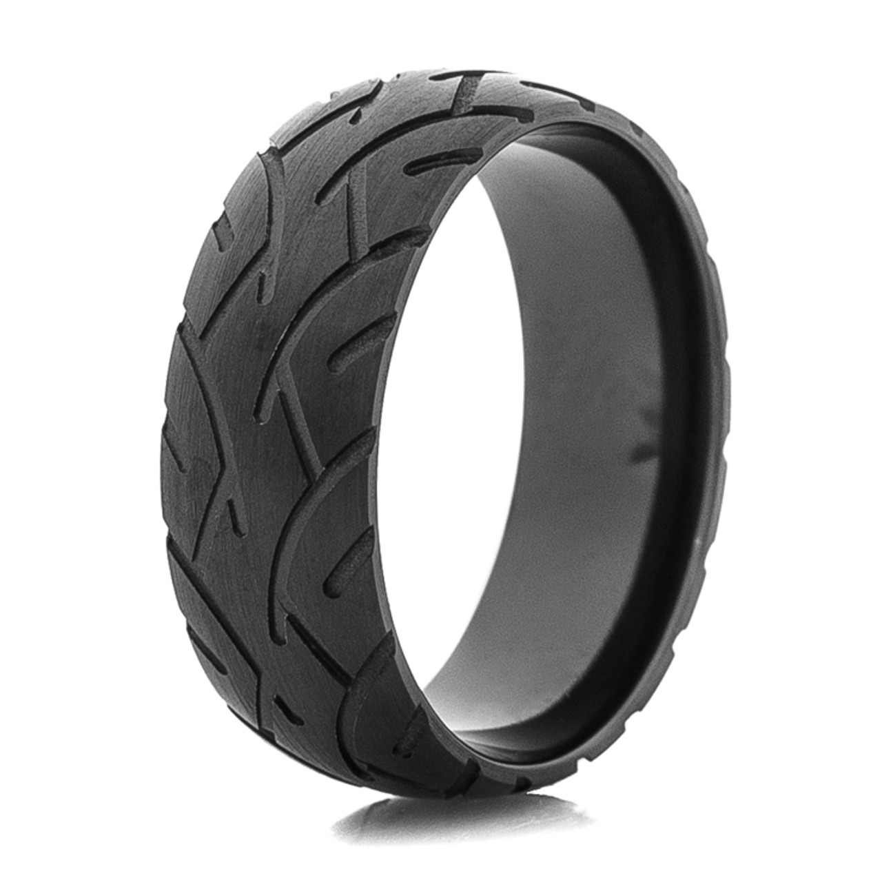 Men S Blacked Out Motorcycle Tread Ring Titanium Buzz