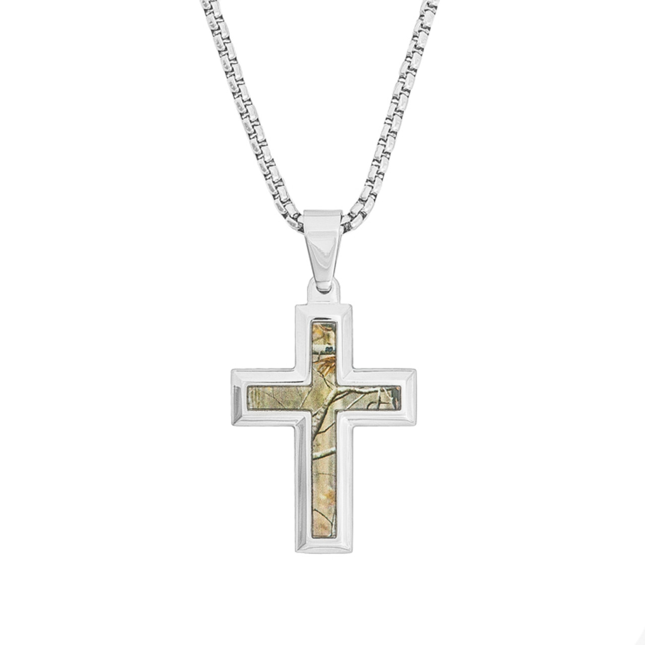 Stainless steel realtree camo cross necklace titanium buzz mens stainless steel realtree camo cross necklace mozeypictures Choice Image