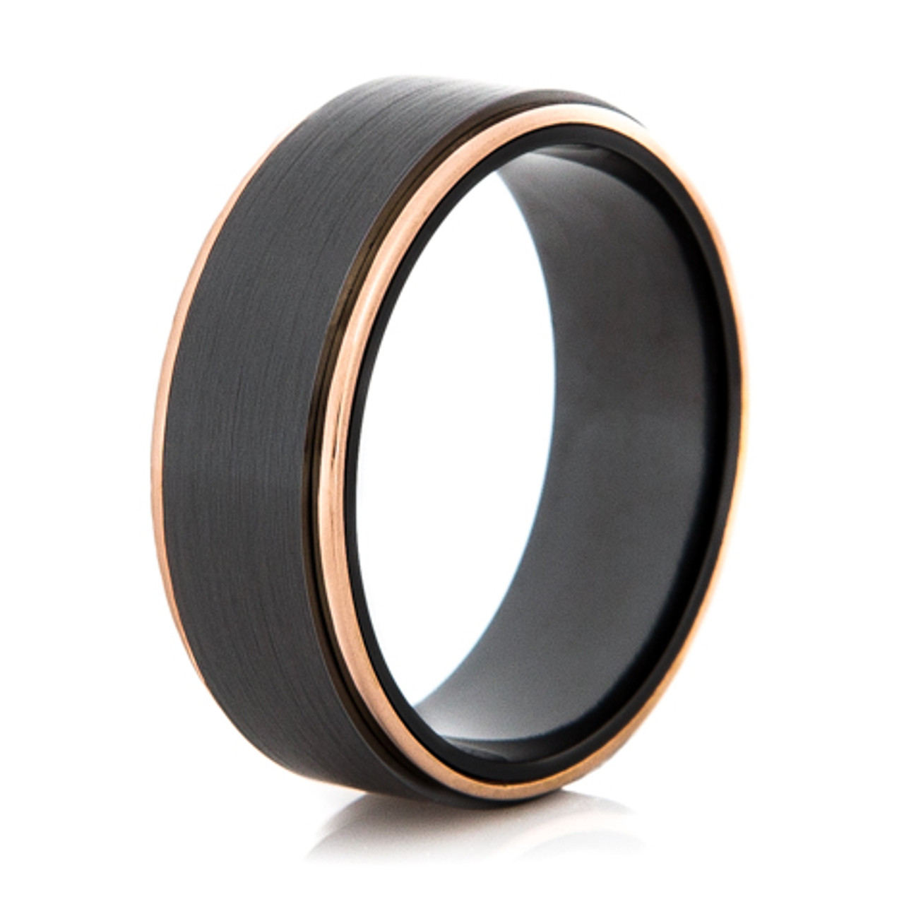 Men S Black Zirconium And Rose Gold Wedding Ring