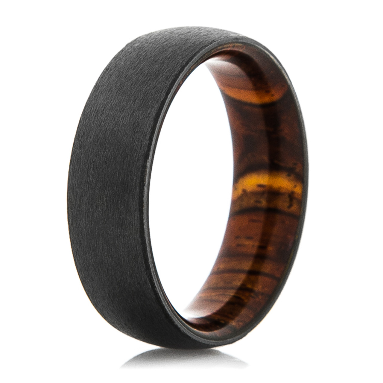 Wood Mens Wedding Bands Canada: Men's Black Zirconium Ring With Cocobolo Wood Sleeve
