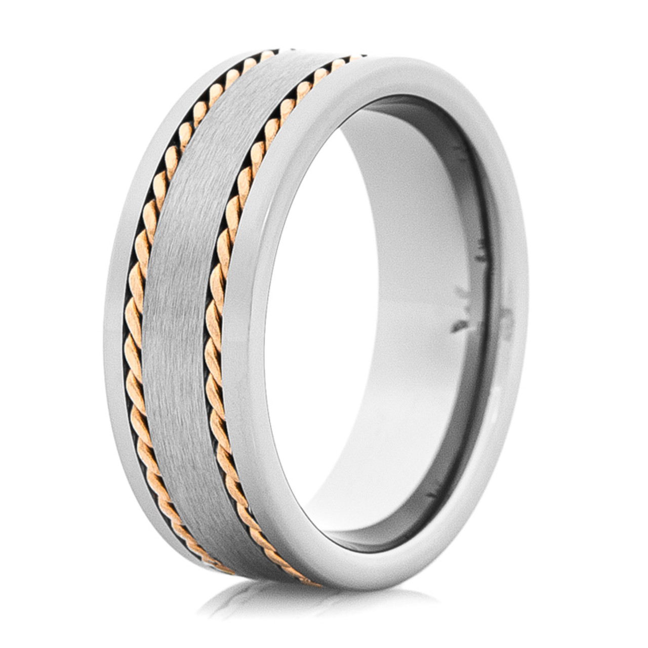 Menu0027s Tungsten Wedding Band With Dual 14K Rose Gold Braids