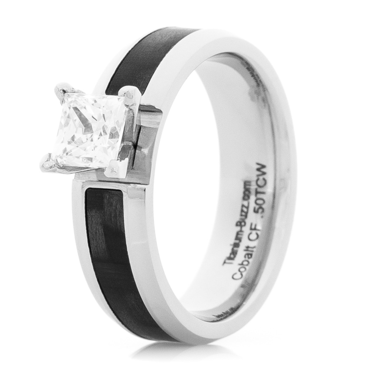 Women S Cobalt And Carbon Fiber Engagement Ring With Princess Cut Stone