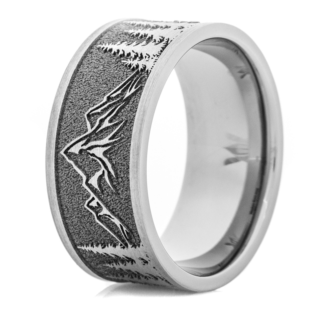 ring unique s cz new outdoor men g eternity titanium antler band item bands mens carved diamonds with style shardon pure