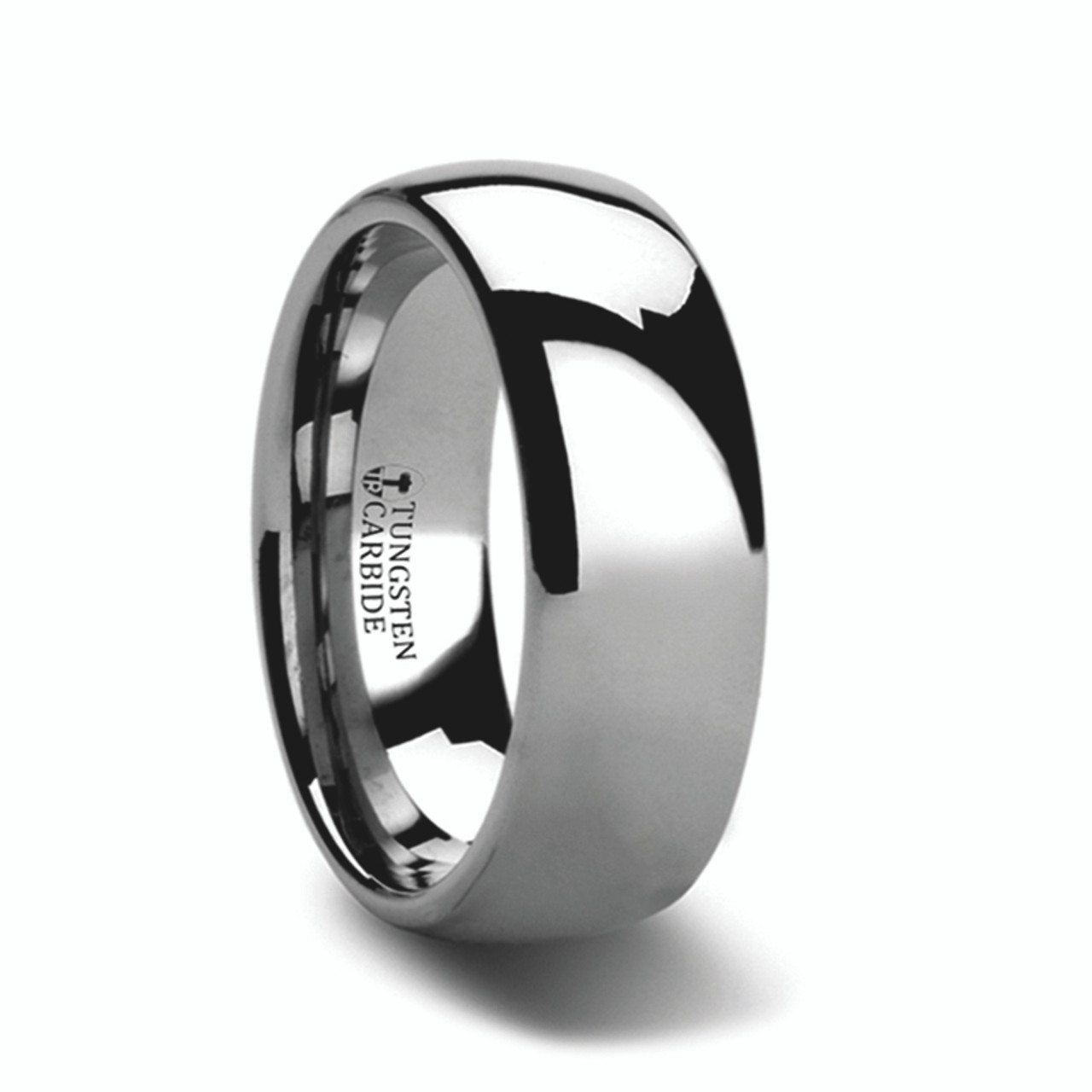 Men S Domed Tungsten Carbide Ring With Polished Finish