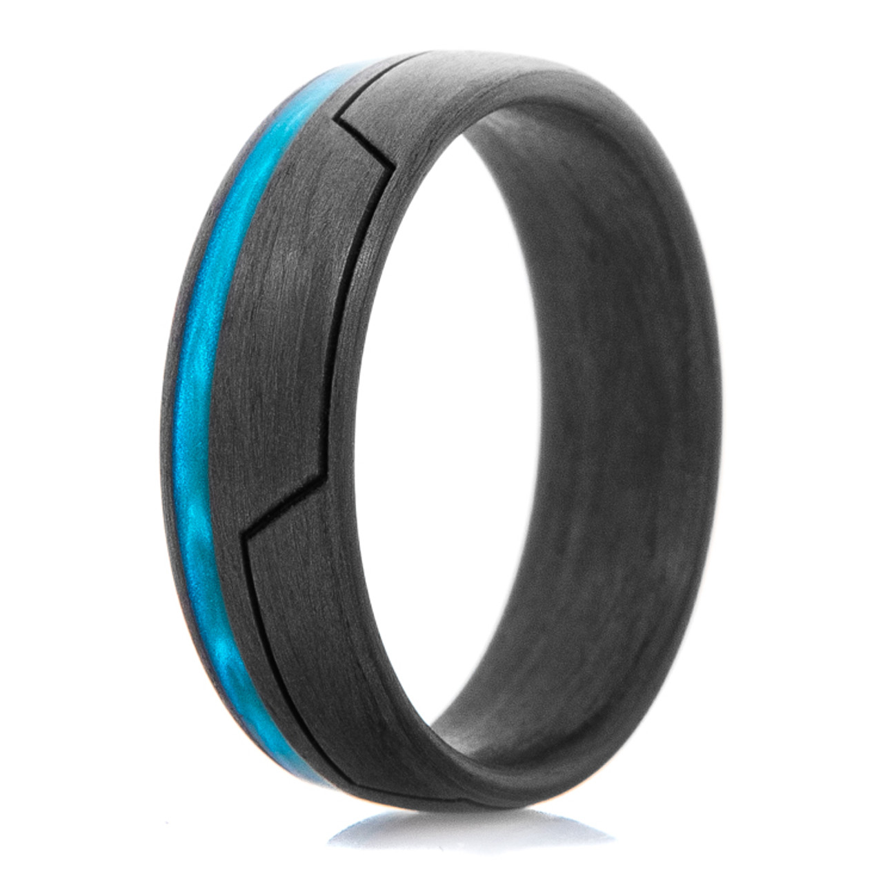 Men S Carbon Fiber Glow In The Dark Ring With Bright Blue