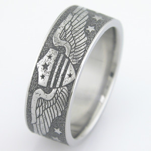 Men's Titanium Vintage Aviation Wedding Ring