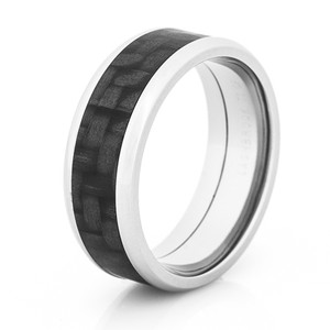 Beveled Titanium Ring with Carbon Fiber Inlay