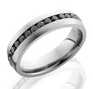 Men's Cobalt Chrome Black Diamond Eternity Ring