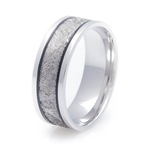 Men's Black Groove Cobalt Gibeon Meteorite Ring