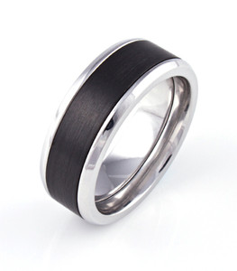 Men's Beveled Edge Cobalt Downtown Ring with Black Zirconium Inlay