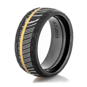 Men's Black Zirconium Hammered Damascus and Gold Ring