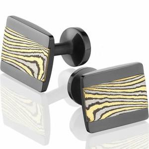 Black Zirconium Gold Mokume Gane Cufflinks