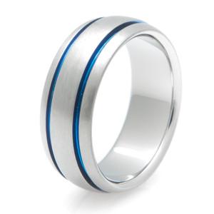 Blue Titanium Wedding Ring