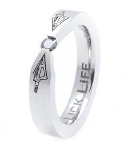 Women's Laser-Carved Titanium Broadhead Strike Black Diamond Ring