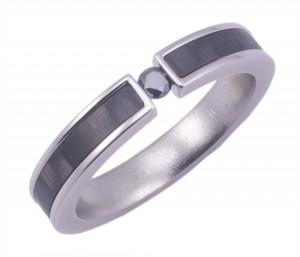 Women's Titanium and Carbon Fiber and Black Diamond Ring