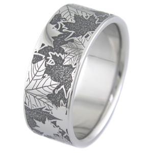 Men's Titanium Lasered Carved Leaf Ring
