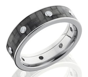 Men's Titanium and Carbon Fiber Diamond Ring