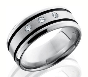 Men's Cobalt Three .05Ct Diamond Ring with Dual Black Grooves
