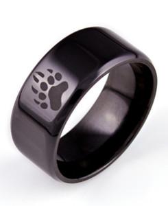 Men's Black Zirconium Bear Tracks Ring