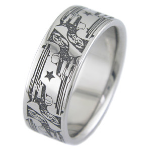 Men's Laser-Carved Titanium Cowboy Pistol Ring