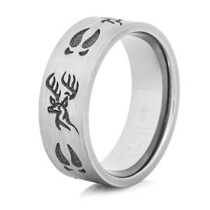 Men's Titanium Deer Head and Tracks Ring