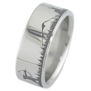 Men's Laser-Carved Titanium Deer Hunter Archery Wedding Band