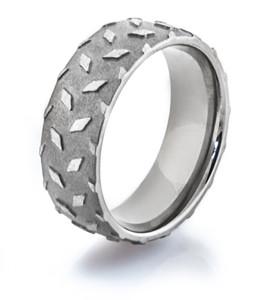 Men's Titanium Diamond Plate Wedding Ring