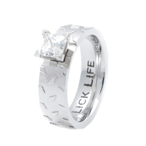 Women's Titanium Diamond Plate Engagement Band
