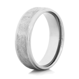 Men's Distressed Titanium Two-Step Country Wedding Band