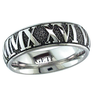 Dome Profile Roman Numeral Wedding Band
