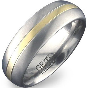 Gold Inlay Titanium Dome Band