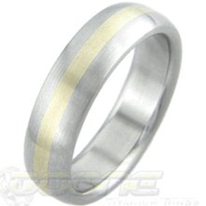 Dome Titanium with Gold Inlay Ring