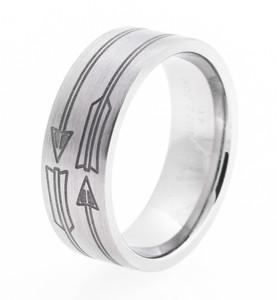 Men's Laser-Carved Titanium Arrow Ring
