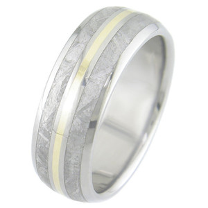 Men's Dual Inlay Titanium Meteorite Ring with 18K Gold Accent