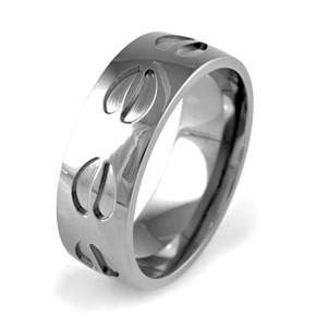 Men's Polished Titanium Elk Tracks Ring