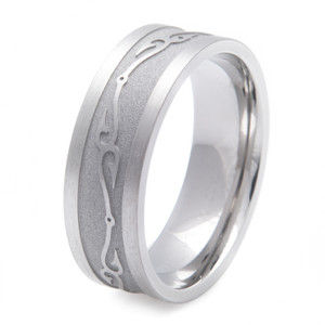 Men's Titanium Connected Fish Hooks Wedding Ring