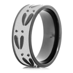 Men's Black Zirconium Two Tone Deer Track Ring
