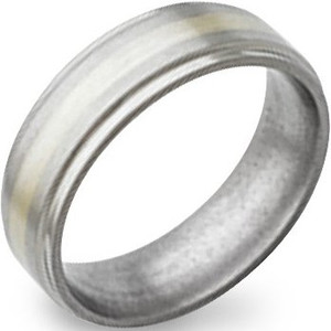 Flat Grooved Titanium and White Gold Ring