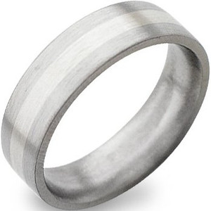 Flat Profile White Gold Titanium Ring