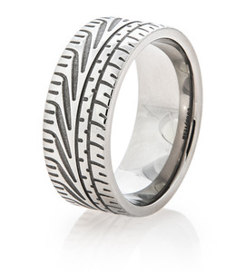 Men's Titanium Goodyear Eagle F1 Super Car Tire Tread Ring